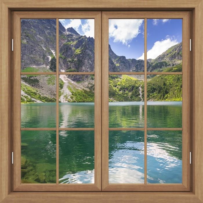 Vinyl Fotobehang Brown raam gesloten - Tatry - Uitzicht door het raam