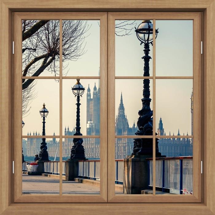 Fototapeta winylowa Okno brązowe zamknięte - Big Ben. Londyn. - Widok przez okno