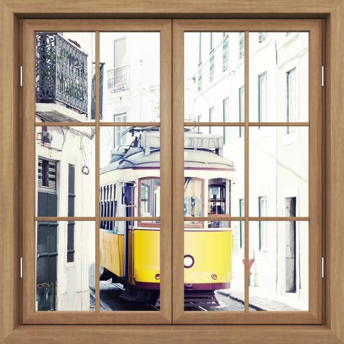 Vinyl-Fototapete Brown Fenster geschlossen - Lissabon - Blick durch das Fenster