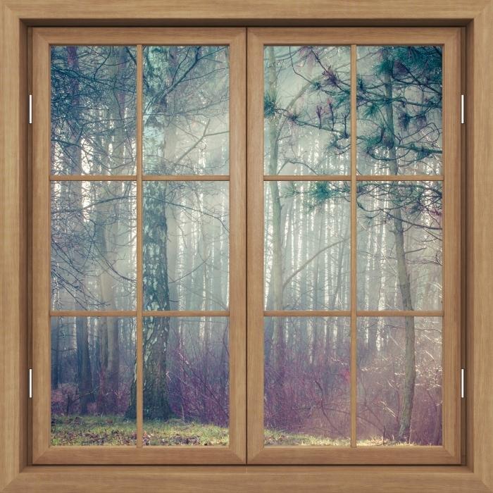Fototapeta winylowa Okno brązowe zamknięte - Las we mgle - Widok przez okno