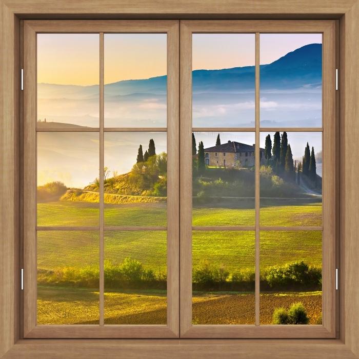 Papier peint vinyle Brown A Fermé La Fenêtre - Toscane À L'Aube - La vue à travers la fenêtre