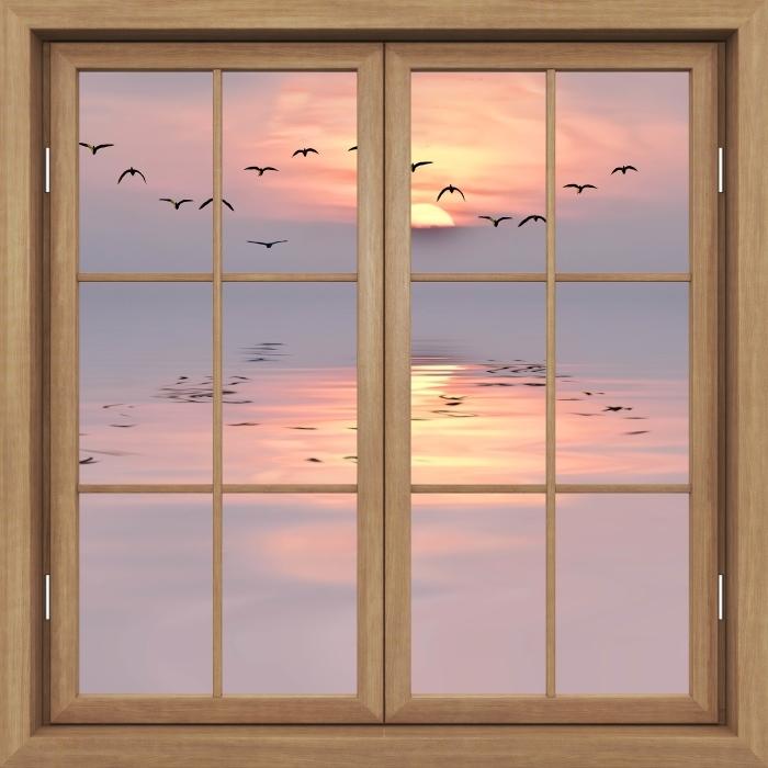Fotomural Estándar Ventana de Brown cerrado - puesta del sol - Vistas a través de la ventana