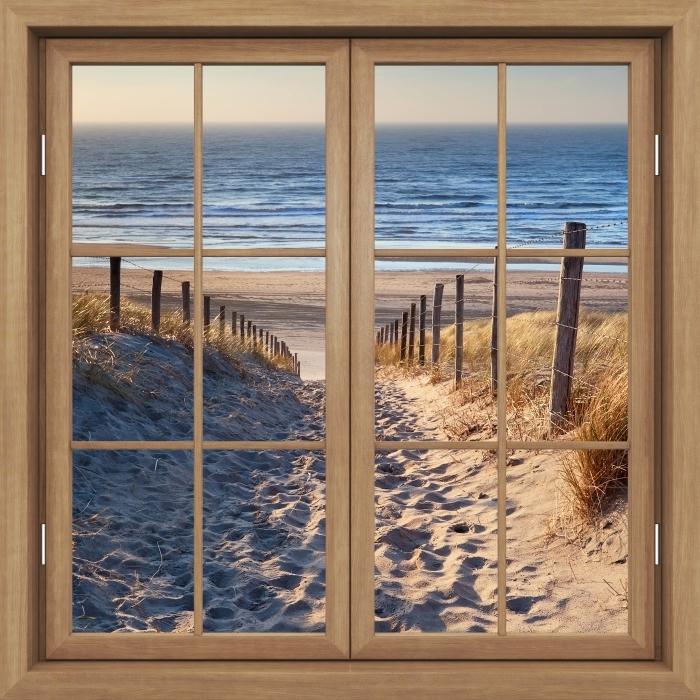Fototapeta winylowa Okno brązowe zamknięte - Morze Północne - Widok przez okno