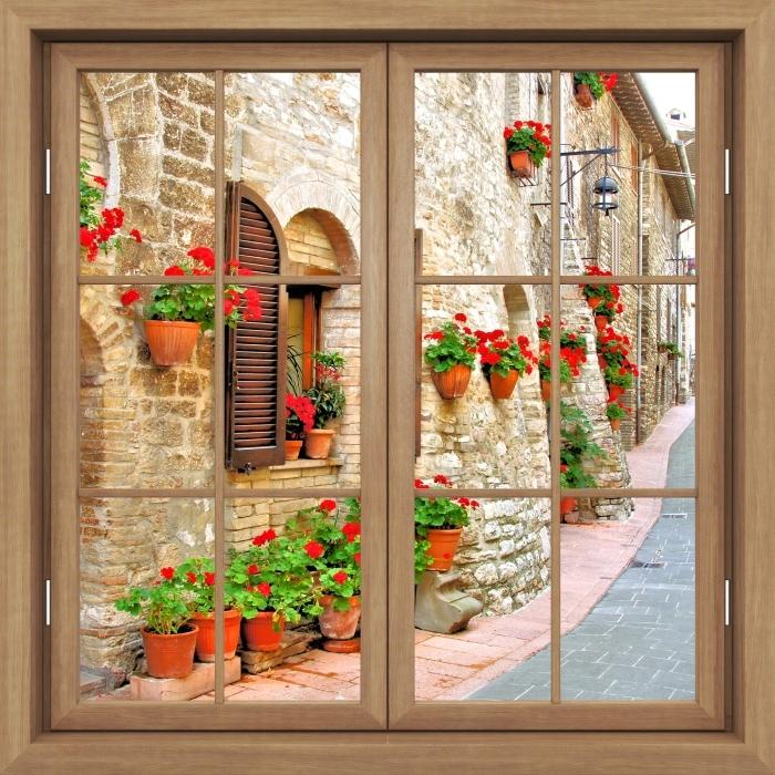 Fototapeta winylowa Okno brązowe zamknięte - Włoskie wzgórze - Widok przez okno