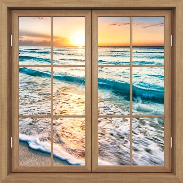 Fototapeta winylowa Okno brązowe zamknięte - Wschód słońca na plaży - Widok przez okno