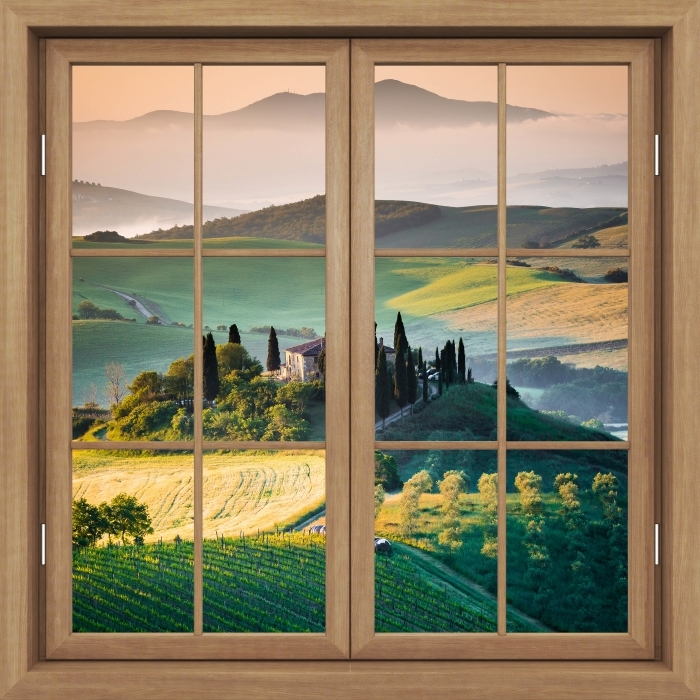 Fototapeta winylowa Okno brązowe zamknięte - Toskania - Widok przez okno