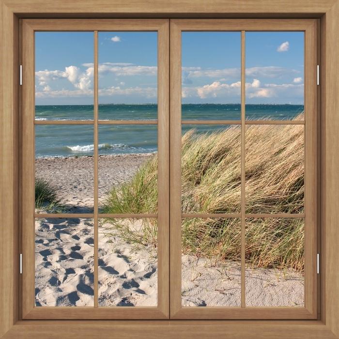 Carta da Parati in Vinile Finestra marrone chiusa - Sea - Vista attraverso la finestra