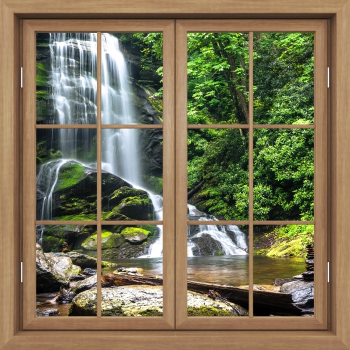 Fototapeta winylowa Okno brązowe zamknięte - Wodospad w lesie - Widok przez okno