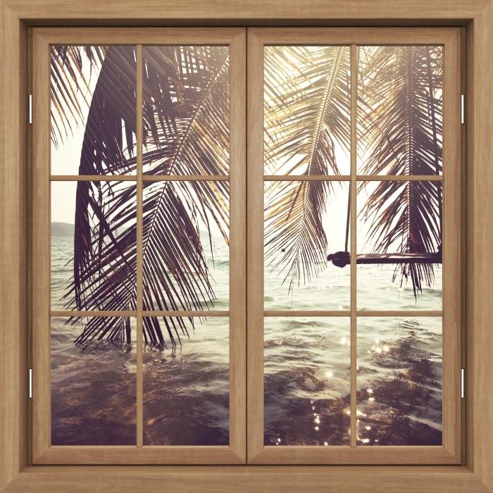 Vinyl-Fototapete Brown schloß das Fenster - Tropischen Strand - Blick durch das Fenster