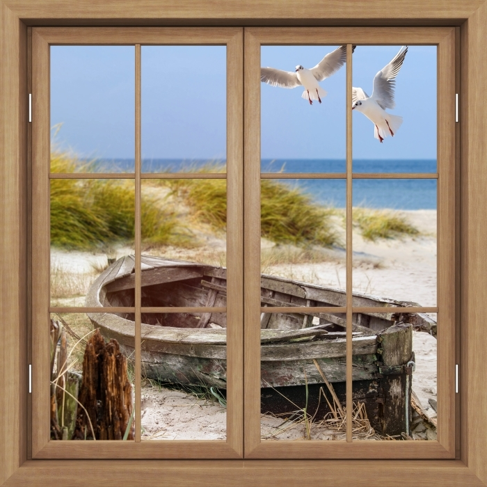 Fototapeta winylowa Okno brązowe zamknięte - Plaża nad morzem - Widok przez okno