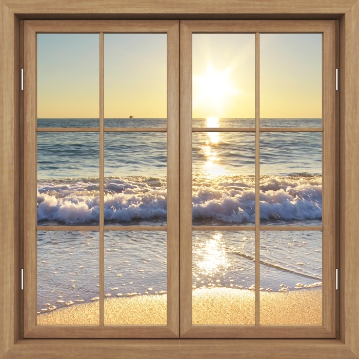 Carta da Parati in Vinile Finestra marrone chiuso - Estate mare - Vista attraverso la finestra