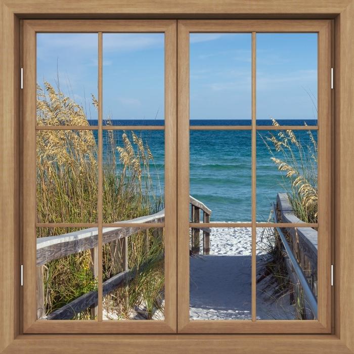 Brown window closed - Dunes Vinyl Wall Mural - View through the window