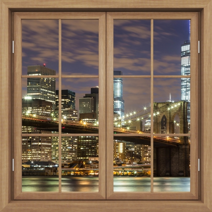 Vinyl-Fototapete Brown Fenster geschlossen - Brooklyn Bridge - Blick durch das Fenster
