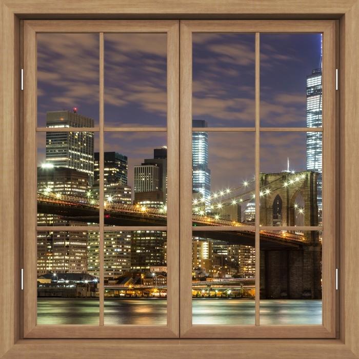 Fototapeta winylowa Okno brązowe zamknięte - Brooklyn Bridge - Widok przez okno