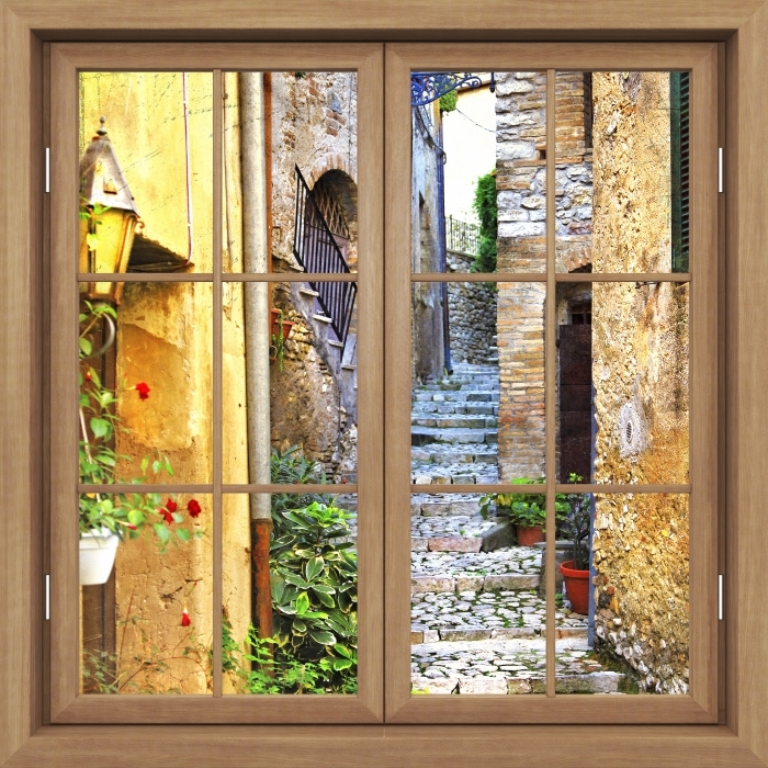 Brown window closed - charming old streets Vinyl Wall Mural - View through the window