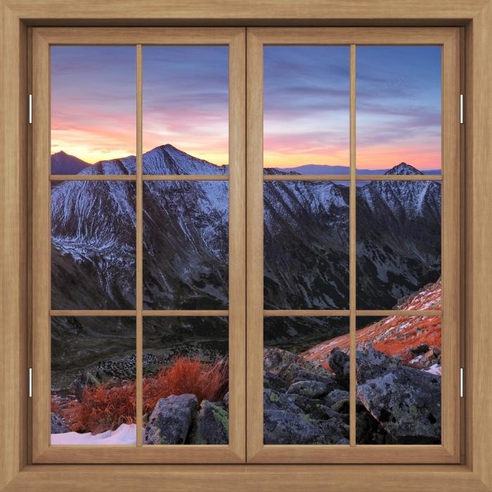 Vinyl-Fototapete Brown Fenster geschlossen - Tatry - Blick durch das Fenster