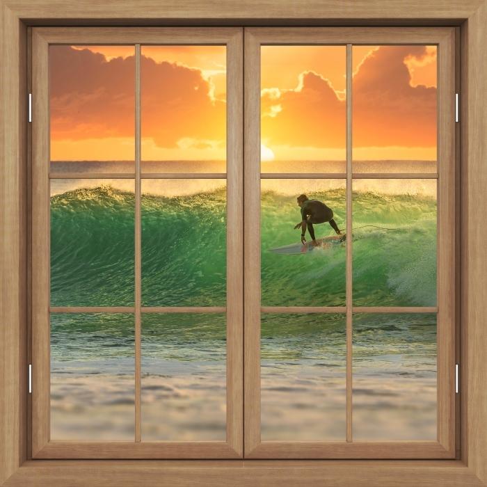 Papier peint vinyle Fenêtre Fermée Brown - Surf - La vue à travers la fenêtre