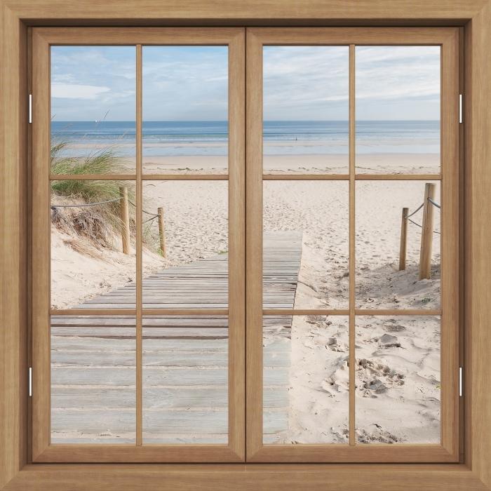 Fototapeta winylowa Okno brązowe zamknięte - Plaża i morze - Widok przez okno