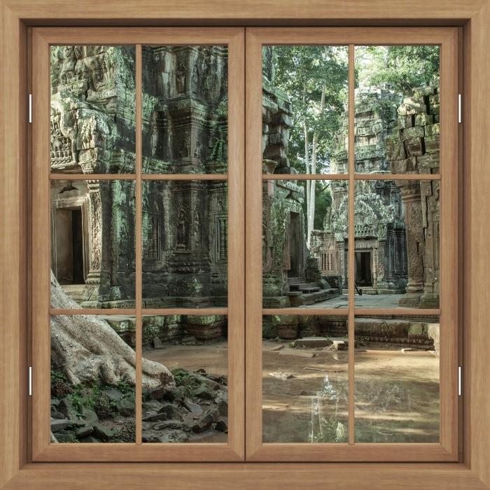 Vinyl Fotobehang Brown raam gesloten - Cambodja - Uitzicht door het raam