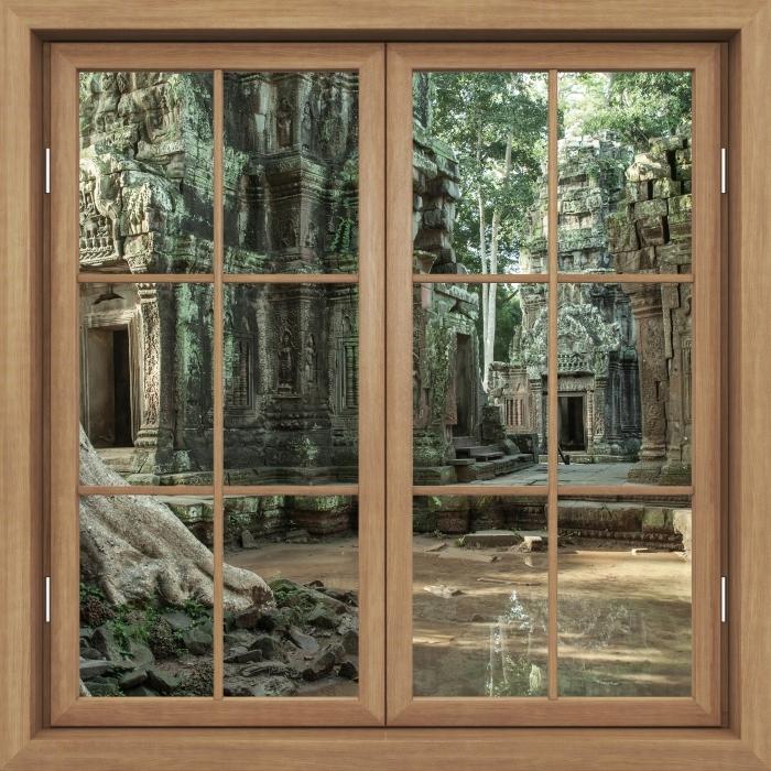 Brown window closed - Cambodia Vinyl Wall Mural - View through the window