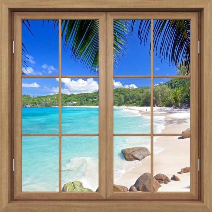 Fotomural Estándar Brown cerró la ventana - tropical - Vistas a través de la ventana