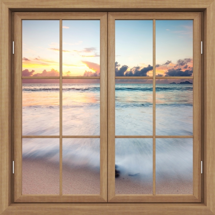 Fototapeta winylowa Okno brązowe zamknięte - Plaża - Widok przez okno