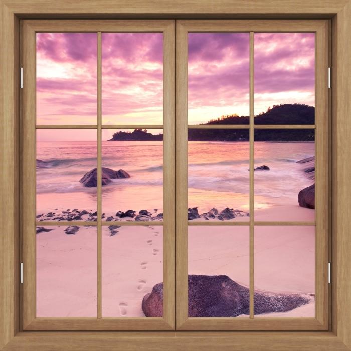 Vinyl-Fototapete Brown Fenster geschlossen - Sunset - Blick durch das Fenster
