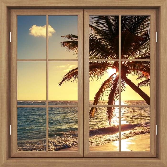 Fototapeta winylowa Okno brązowe zamknięte - Palmy na tropikalnej plaży - Widok przez okno