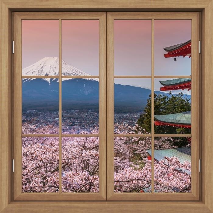 Papier peint vinyle Fenêtre Fermée Brown - Fuji - La vue à travers la fenêtre