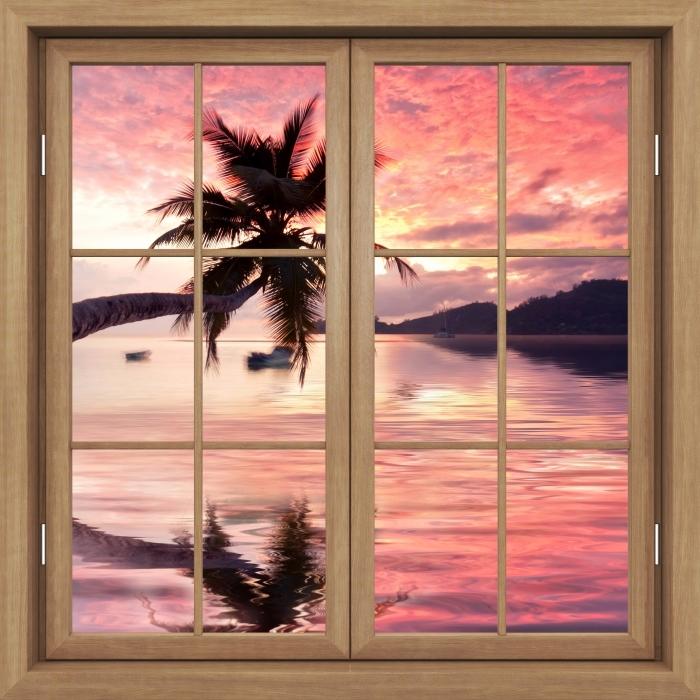 Vinyl-Fototapete Brown schloss das Fenster - das Meer - Blick durch das Fenster