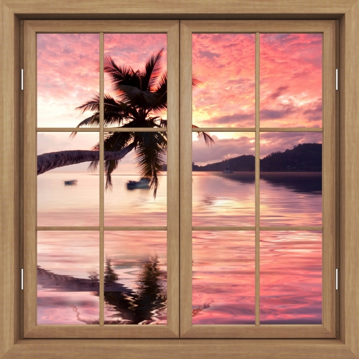 Brown closed the window - the sea Vinyl Wall Mural - View through the window