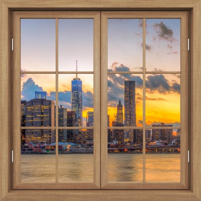 Fototapeta winylowa Okno brązowe zamknięte - Most Brooklyn Bridge - Widok przez okno