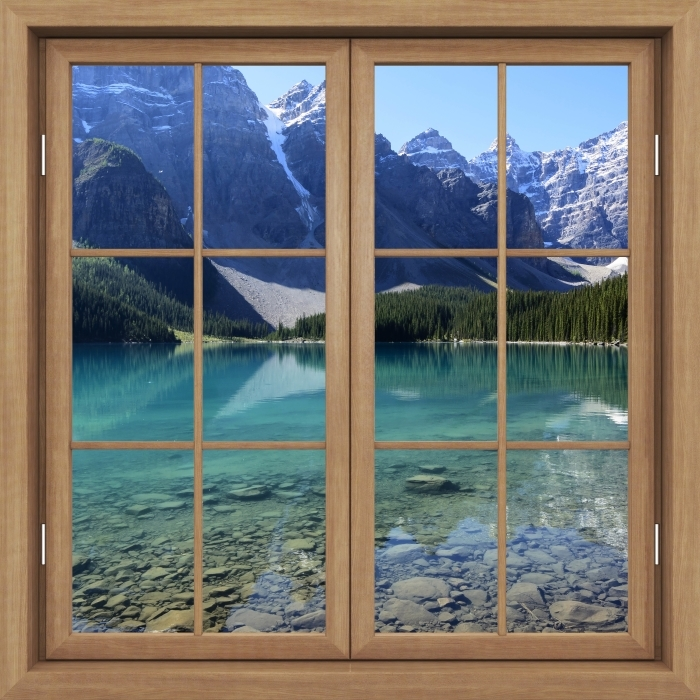 Fotomural Estándar Brown cerró la ventana - mañana de verano - Vistas a través de la ventana