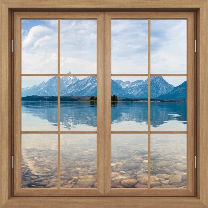Fototapeta winylowa Okno brązowe zamknięte - Park Narodowy Grand Teton - Widok przez okno