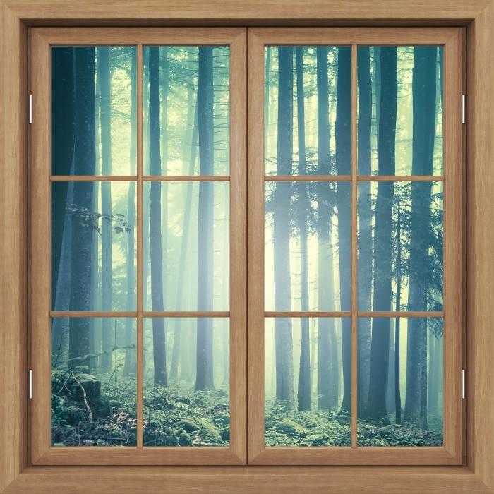 Vinyl-Fototapete Brown Fenster geschlossen - nebelige Landschaft. Slowenien. - Blick durch das Fenster