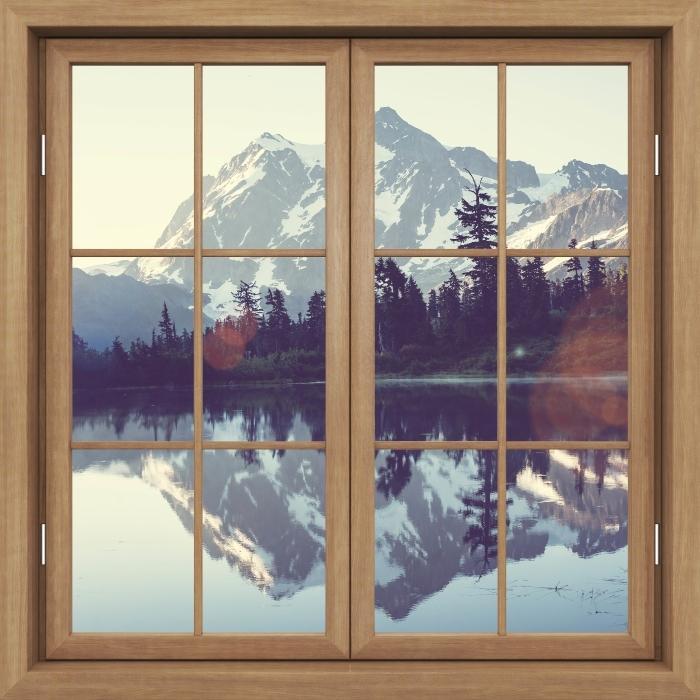 Fototapeta winylowa Okno brązowe zamknięte - Jezioro - Widok przez okno