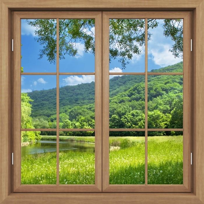 Papier peint vinyle Fenêtre Fermée Brown - Rivière - La vue à travers la fenêtre