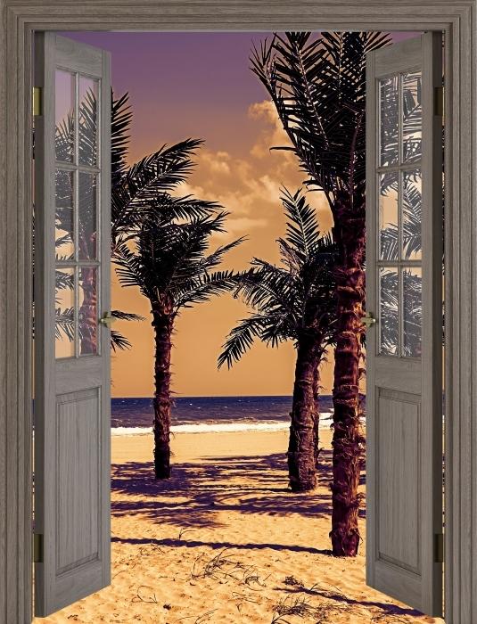 Papier peint vinyle Brown porte - Palma - La vue à travers la porte
