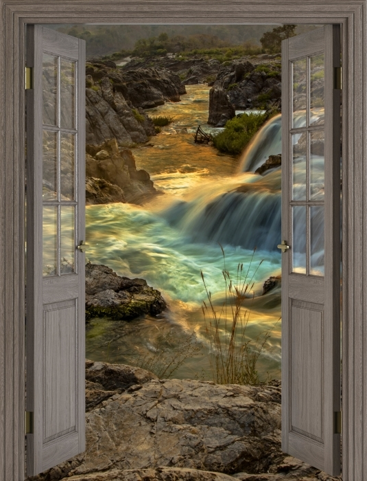 Vinyl-Fototapete Brown Tür - Wasserfall - Blick durch die Tür