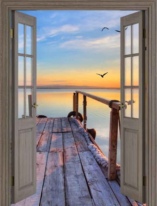 Papier peint vinyle Brown porte - Lac - La vue à travers la porte