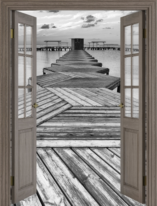 Fototapeta winylowa Brązowe drzwi - Przystań - Widok przez drzwi