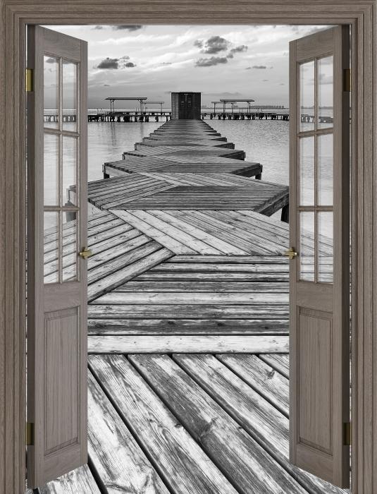 Brown door - Marina Vinyl Wall Mural - Views through the door
