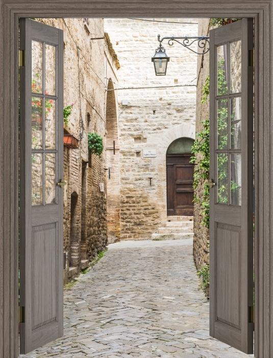 Brown door - Italy Vinyl Wall Mural - Views through the door