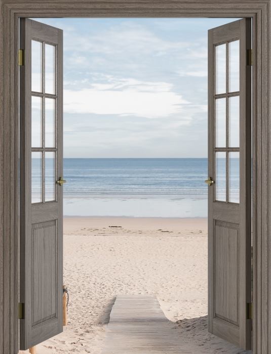 Fototapeta winylowa Brązowe drzwi - Plaża i morze - Widok przez drzwi