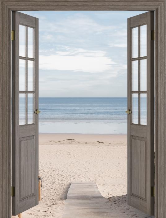 Papier peint vinyle Brown porte - plage et de la mer - La vue à travers la porte