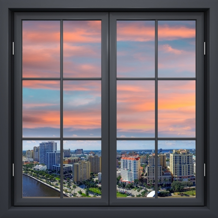 Papier peint vinyle Fenêtre Noire Fermée - Vue Aérienne - La vue à travers la fenêtre
