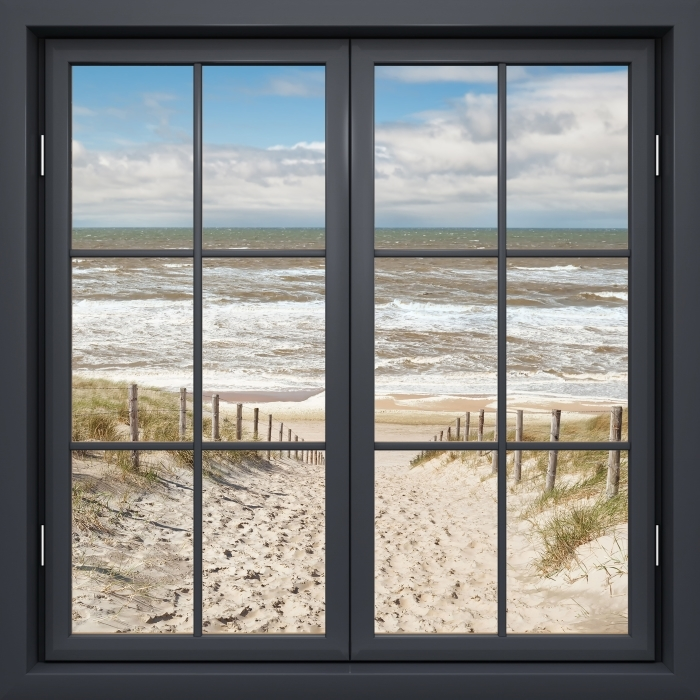 Black window closed - sand on the beach on a sunny day Vinyl Wall Mural - View through the window