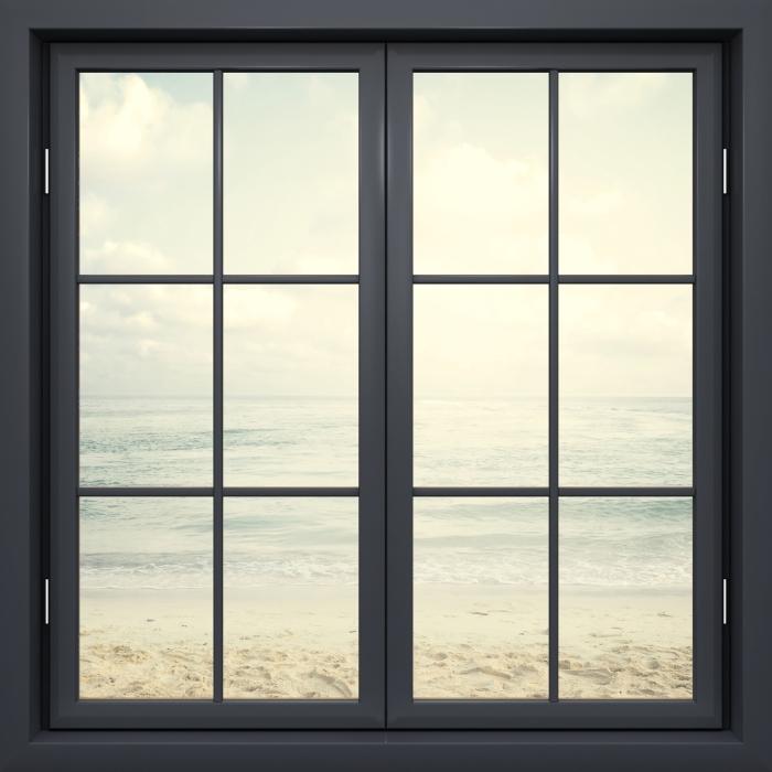 Fototapeta winylowa Okno czarne zamknięte - Plaża w lecie - Widok przez okno