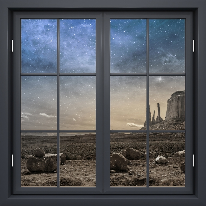 Papier peint vinyle Fenêtre Noire Fermée - Désert Rocheux - La vue à travers la fenêtre
