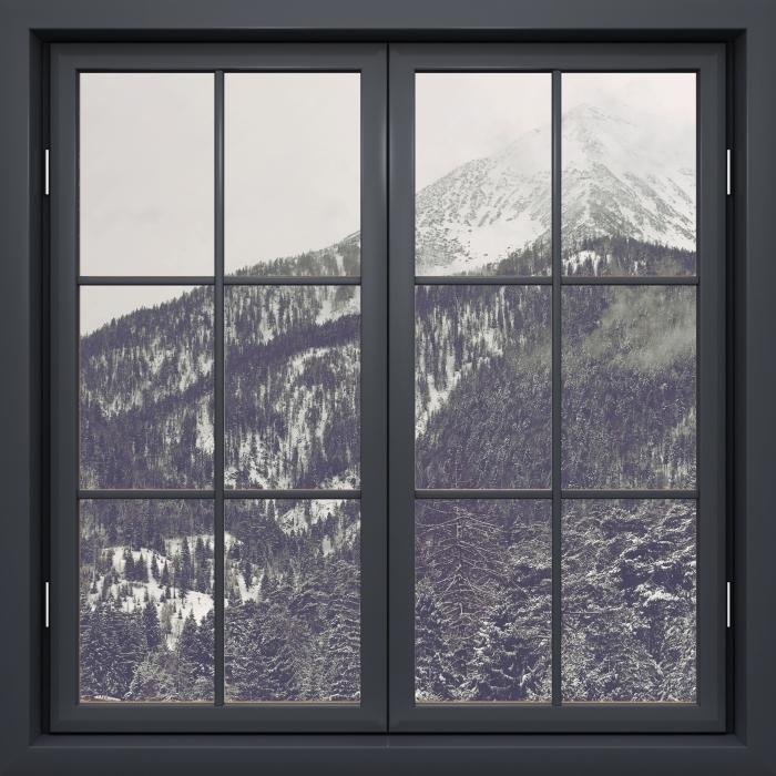 Carta da Parati in Vinile Finestra Nera Chiusa - Nuvole - Vista attraverso la finestra